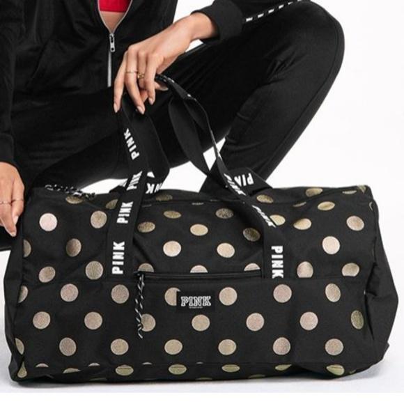 1dfdadec1b55 Vs pink polka dot weekender duffle bag black gold